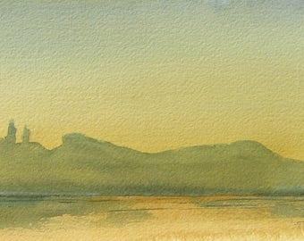 Watercolor art painting of Foster Reservoir, near Sweet Home, Oregon Cascades, print from a handmade original