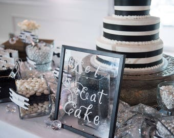 Cake Sign, Glass Sign, Engagement, cake, Wedding Cake, Candy Bar, Wedding signs, Wedding Decor, Candy Buffet, Candy, Cake Table