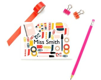 Personalized Teacher Stationary, Personalized Stationery Teacher Note Cards, FOLDED Note Cards, Cute Teacher Gifts, SET of 10 Cards