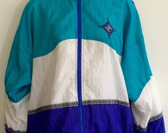 Blue Block Colour Windbreaker 80's 90's