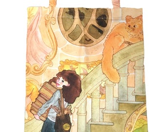 Hermione Granger Tote Bag, Watercolor Harry Potter Accessories, Harry Potter Fan Art, Library Tote Bag, Geeky Bag, Potterhead Accessories