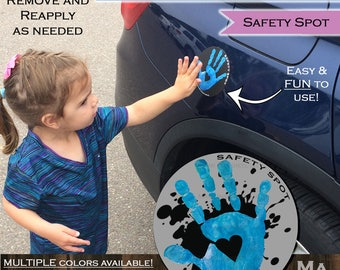 Safety Spot SPLAT Kids Hand Car Magnet/ Toddler Child Handprint Car/ Kids Car Safety Parking Lot Safety Handprint Safe Spot to Stand GRAY