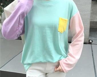 2 Colors Harajuku Shirt Patchwork Shirt Kawaii Shirt Fairy Kei Shirt Pastel Goth Shirt Pastel Shirt Korean Fashion Japanese Fashion