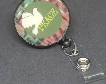 Christmas peace dove badge reel