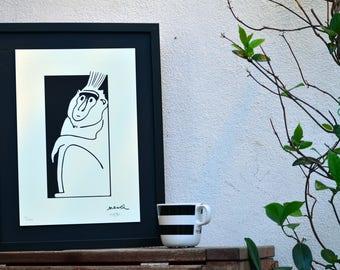 Black Monkey, animal, line, illustration, comics