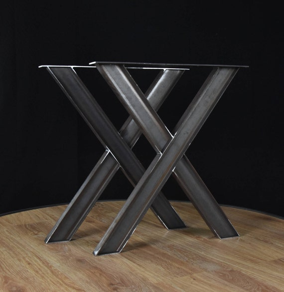Industrial x shape metal table wrought iron table legs for Table bois fer industriel