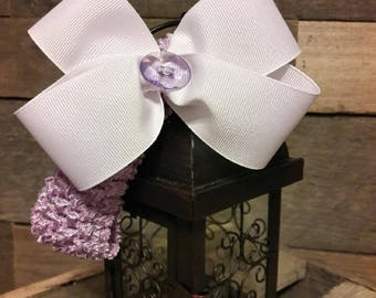 Lavender and White Headband