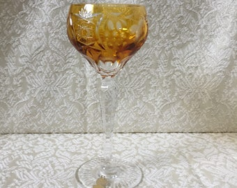 "Vintage Nachtmann Traube Wine Goblet Amber Cut to Clear 6 7/8"" Tall Label Attached"