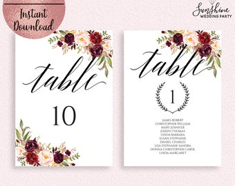 Red Floral Wedding Table Number Sign Template, Printable Script Font Wedding Table Sign, Editable Table Sign Template, Digital Download, PDF