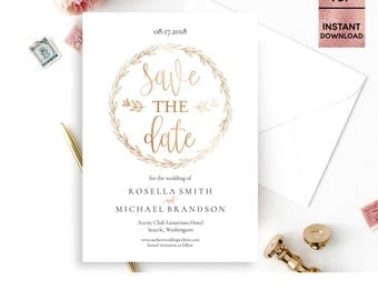 Gold Foil Save the Date Card Template, Printable 5x7 Save the Date with Script Font, DIY Template, Editable PDF File, Digital Download