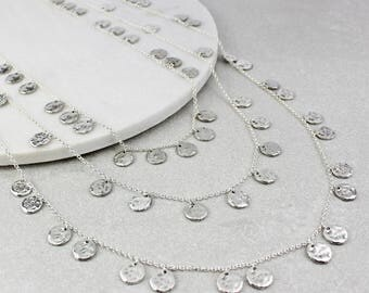 Triple Chains of Silver Necklaces - Anniversary - Statement Necklace - coins - Birthday Gift