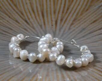 Elegant Silver Pearl Wire Wrapped Earrings.
