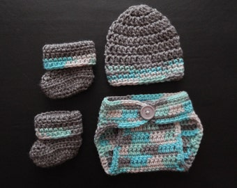 Crochet diaper cover set - Hat, diaper cover and booties for baby boy - newborn set - 7-11 lbs - adorable photo prop - cute baby shower gift