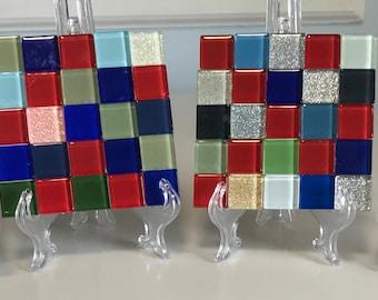 "Glass Tile Coaster Set Set of 4 ""Cayenne"""