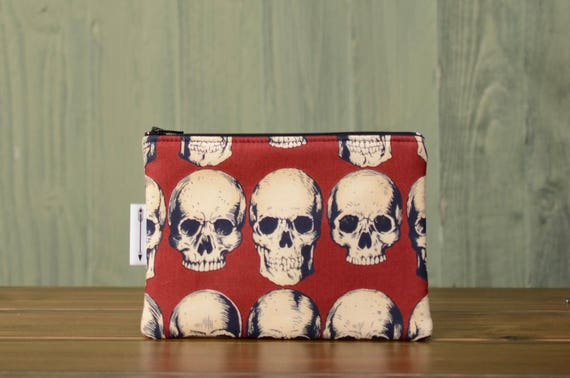 Red Skulls zipped pouch