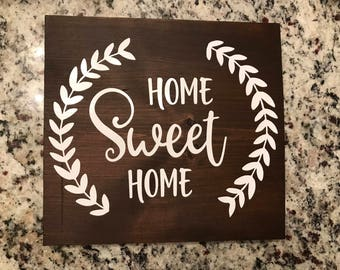 Wooden Sign, Home Sweet Home Vine Wreath Wooden Sign, Personalized Wooden Decor