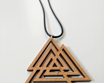 Valknut Viking knot pendant, laser scored and cut from solid alder wood