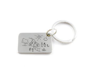 Kids Art Engraved - Replica of Your Child's Drawing or Handwriting - Engraved Keychain