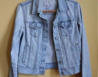 90s Distressed Denim Jacket - Medium