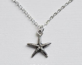 Starfish Necklace, Starfish Charm, Star Fish Necklace, Silver Starfish, Silver Starfish Charm On Silver Plated Necklace