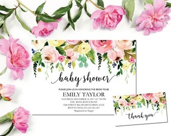 Baby Shower Invitation, It's a Girl Shower Invite, Bridal Shower Card, Floral Baby Shower, Boho Girl Baby Invite, Instant Download ABB05