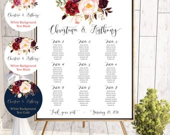 PRINTABLE Wedding Seating Chart, Wedding Seating Chart, Wedding seating template, Navy seating chart, Seating chart, Find Your Seat #136