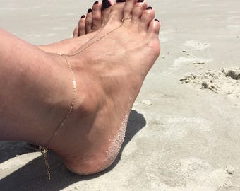 Foot Slave Anklet Bare Foot Sandals Gold Bare Sandals Slave ankle bracelet Gold Slave anklet Sterling Silver slave anklet Foot Jewelry Bare