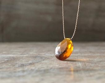 Honey Citrine Necklace, November Birthstone, Madeira Citrine necklace, 14K Gold Fill Citrine Jewelry, , Women Gift idea summer jewelry