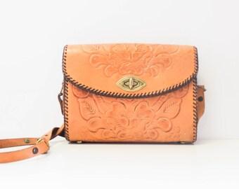 vintage tooled leather purse