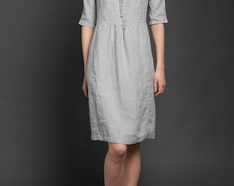 Silver Gray Linen Dress - made in Europe - Summer Clothing - PLUS SIZE DRESSES available - リネンドレス