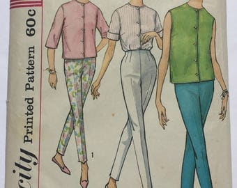 Simplicity 4434 Misses Pants and Shirt Size 14 Vintage 1960s