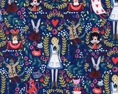 Cotton + Steel Wonderland Fabric, Wonderland in Navy Metallic, Rifle Paper Co, Alice Fabric, Floral Fabric, 8013-01
