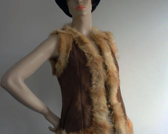 Vintage 1970s Suede and Fur Gilet / Waistcoat UK10