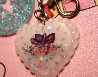 Crystal and Flower Cluster Keychain