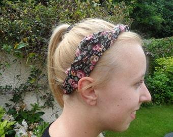 HEADBAND Black and Pink patterned floral headband summer wear, tied, medium length