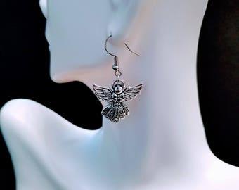 Guardian Angel Wing Earrings, Angel Earrings, Silver Angel Earrings, Sparkle Angel Earrings, Popular Earrings, Stocking Stuffer for Woman