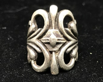 Vintage Heavy Cast Sterling Silver Ring MARKED