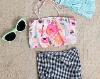 Cute High Waisted Bikini Swimsuit - Two Piece Bathing Suit - Floral top with gingham bottoms