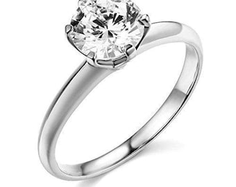 1 Ct Round Cut Solitaire Engagement Wedding Ring Solid 14K White Gold Tiffany Inspired