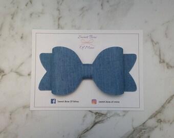 Denim Hair Bow   Clip or Headband   Light Blue   Large Bow   baby bow, baby headband, girls clip