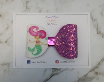 MERMAID BOW Hair Clip | Large Bow | Hair Bow, Hair Clip, Glitter Bow, Oversized