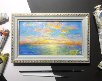 MINI Sea Landscape Oil Painting Seascape Sunrise Classical framed Original Painting Art Gifts home decor ready to hang book shelf decor
