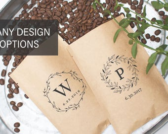 Rustic Fall Wedding Favors-Personalized Bulk Wedding Favors-Coffee Party Favors-Bridal Shower Favors-Barn Wedding Favors-Coffee Favor Bags