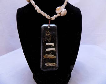 Wasp and larvae pendant with bones in resin and genuine sea shell beaded chain