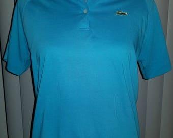 VTG 80's Izod Lacoste Polo Shirt Tiffany Blue Preppy Crop Top - Size Small