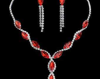 Rhinestone, Crystal, CZ necklace set, wedding bridal jewelry set costume red