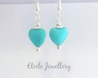 Turquoise Earrings, Silver Earrings, Dangle Earrings, Drop Earrings, Howlite Turquoise, Howlite Earrings, Turquoise Heart Earrings