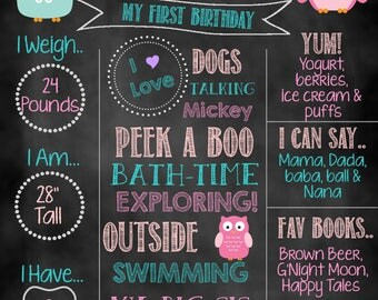 Owl Birthday Sign, Owl Birthday, Milestone Birthday Sign, Birthday Chalkboard
