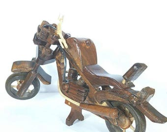 Hand-made wooden motorcycle - Retro Vintage Motorcycle Decoration -
