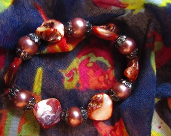 Vintage Brown Bead Bracelet